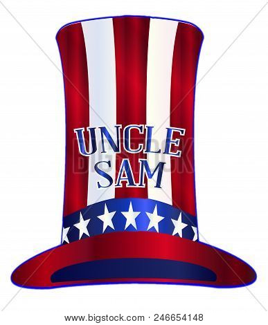 Red White And Blue Stars And Stripes Uncle Sam Tall Hat With The Legend Uncle Sam