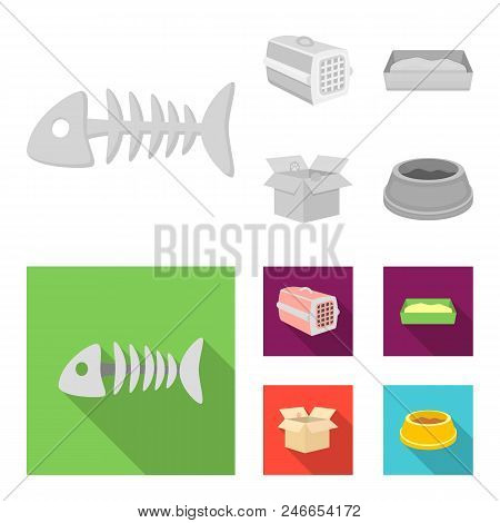 Fish Bone, Container For An Animal, Cat Toilet, Cat In A Box. Cat Set Collection Icons In Monochrome