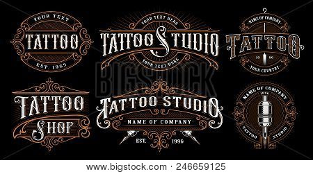 Set Of Vintage Tattoo Emblems, Logos, Badges, Shirt Graphics. Tattoo Lettering Illustration. All Ele