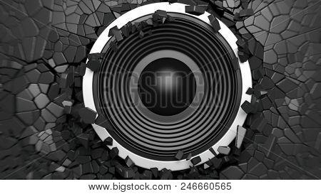 Music concept. Black sound speaker on black cracked wall background. 3d illustration