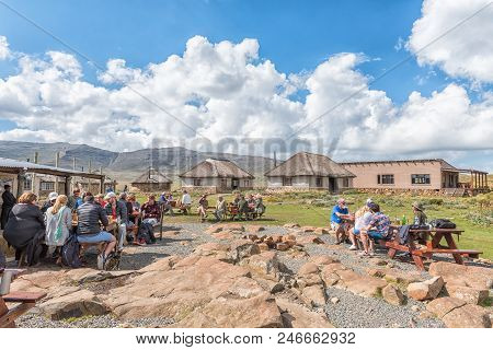 Sani Top, Lesotho - March 24, 2018: Unidentified Tourists At The Sani Mountain Lodge At The Top Of T