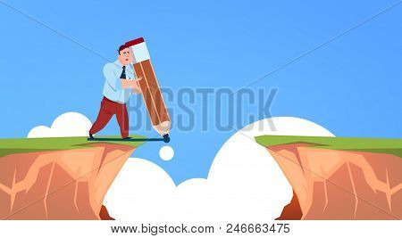 Businessman Pave The Way For Gulf Between Mountain, Leader Draw Road, Start Up Concept, Flat Vector