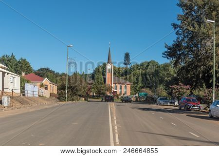 Maclear, South Africa - March 26, 2018: Street Scene With The Dutch Reformed Church And Vehicles In