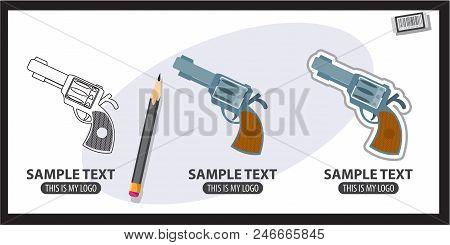 Gun, Logo. Vector Illustration On Gray Background