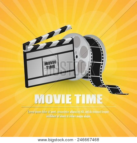 Movie Clapboard, With Movie Strip At Yellow Background Vector Illustration