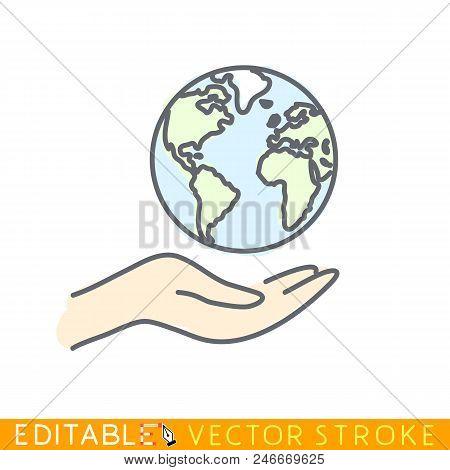 World In Caring Hand. Editable Stroke Sketch Icon. Stock Vector Illustration.