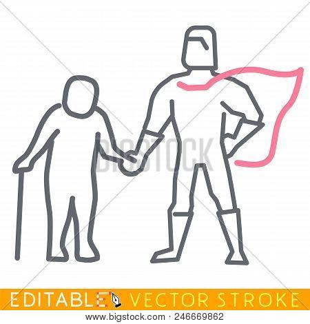 Superhero Cares About Senior. Gerontology Concept. Editable Stroke Sketch Icon. Stock Vector Illustr