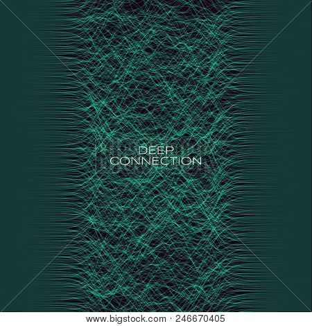 Bunch Of Coonection Wires From Side To Sied. Futuristic Technological Vector Illustration. Generativ
