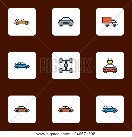 Auto Icons Colored Line Set With Sport, Car, Crossover And Other Electric  Elements. Isolated Vector