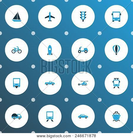 Transport Icons Colored Set With Aircraft, Streetcar, Moped And Other Aerostat Elements. Isolated Ve