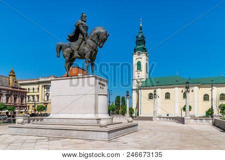 Mihai Viteazu Sculpture In The Union Square In Oradea, Romania, Crisana Region.