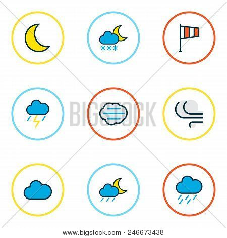 Climate Icons Colored Line Set With Midnight, Windy, Clouded And Other Freeze Elements. Isolated  Il