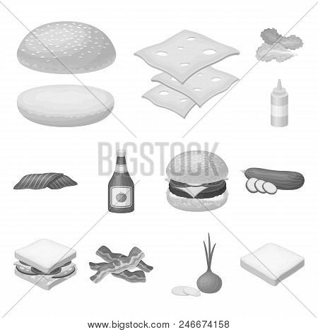 Burger And Ingredients Monochrome Icons In Set Collection For Design. Burger Cooking Vector Symbol S