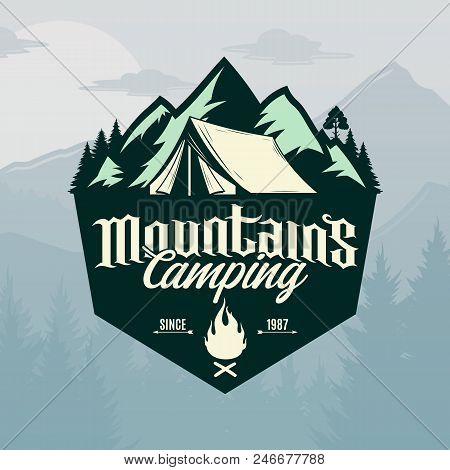 Vector Mountains Camping Logo