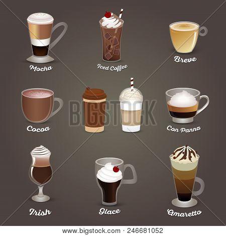 Coffee Set. Mocha, Iced Coffee, Breve, Cocoa, Con Panna, Irish Glace Amaretto Cafe Menu Vector Illus