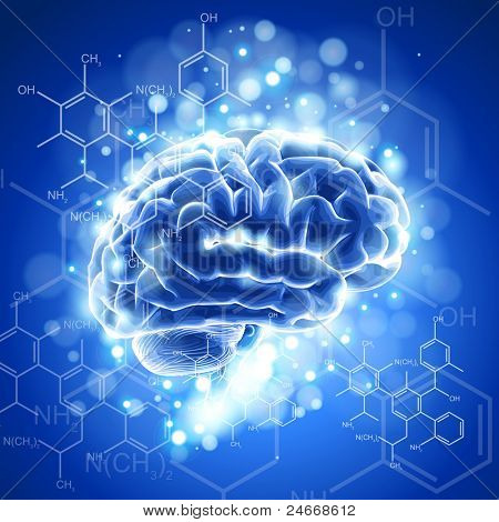 brain, chemical formulas &  lights - blue technology concept. Bitmap copy my vector 73544254