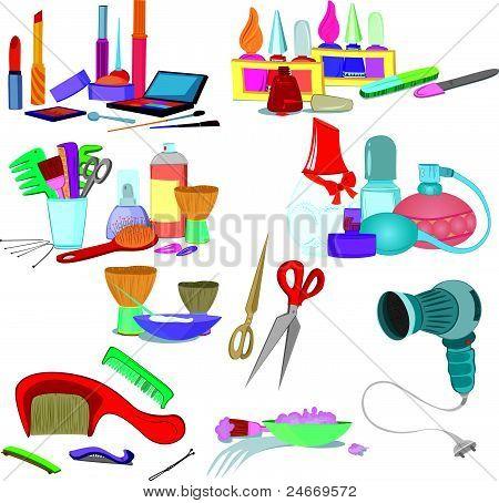Beauty salon brushes, make up manicure icon set