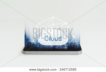 Mobile Phone Cloud Computing. Mobile Smart Phone And Cloud Icon And Network Connection Technology