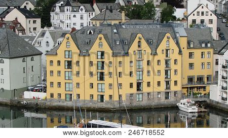 View Of The  Alesund City And Canal. Norway