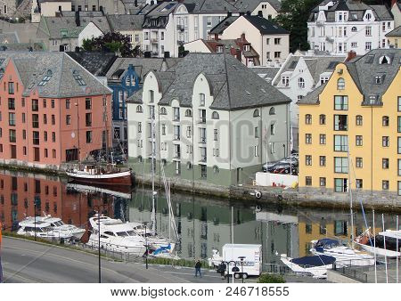 View Of The Alesund City And Canal, Norway
