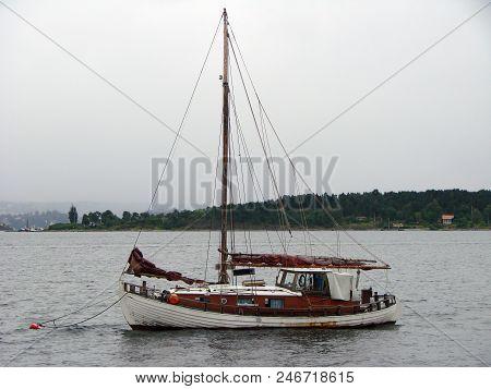 Schooner In The Roadstead In The Harbor Oslo Norway