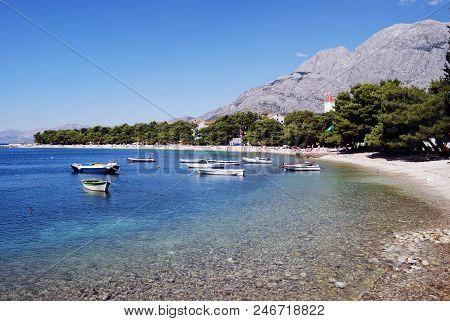 The Beautiful Coast Of Croatia In The Resort Town Of Baska Voda