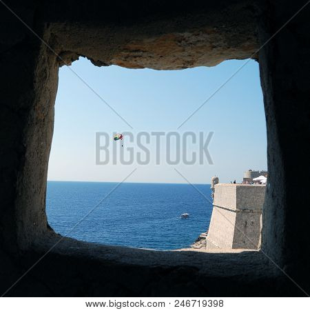 View Through The Window At Sea Croatia, Southern Dalmatia, Dubrovnik