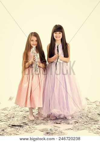 Girls Are Baggage. Credit, Business Success, Future, Fortune. Little Girls Sisters With Money, Dolla