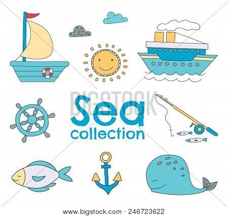 Vector Sea Set With Hand Drawn Elements.