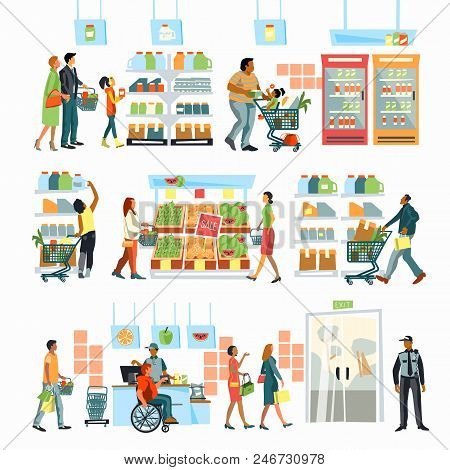 Supermarket Interior. People Shopping Food. People Stand In Line At The Cash Register. A Person In A