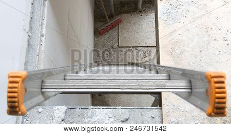 Building Site With House Under Construction - Stairs To The First Floor