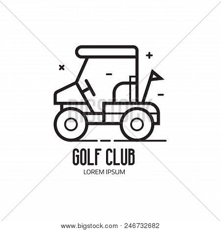 Golf School And Club Logotype. Golfing League Logo Or Emblem With Golf Cart For Golfers On Court. Dr