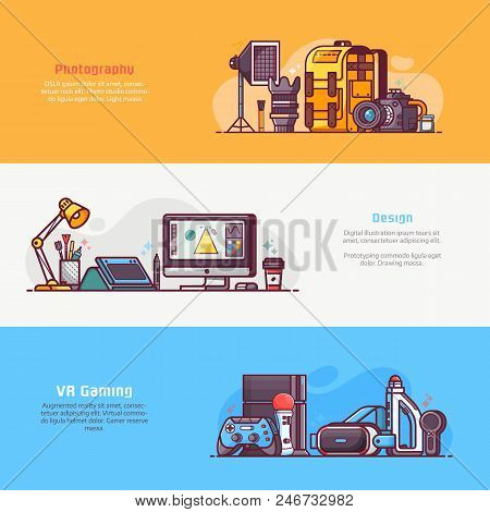 Digital Media Professions Icons And Advertising Banners. Digital Careers Concepts With Equipment For