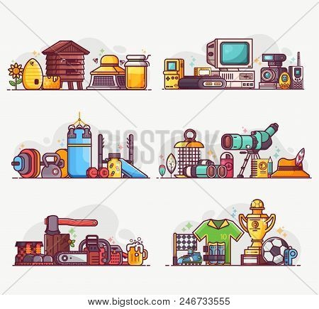 People interests and occupation equipment icons. Hobbies, professions and lifestyles concepts. Birdwatching, beekeeping, weightlifting, woodcutting and football playing spot illustrations or banners. poster