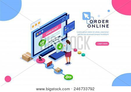 Purchase, Customer Order Online, Concept Of Sale. Character At Shopping. Vector Cart, Can Use For We