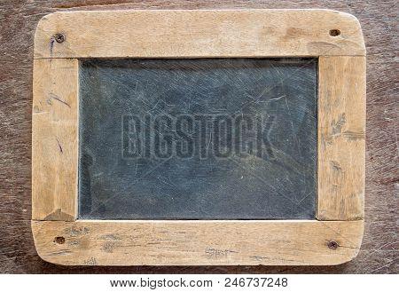 Blackboard With Wooden Frame, Blackboard On Old Wood Background