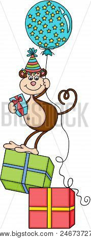 Scalable Vectorial Representing A Birthday Monkey With Balloon And Gifts, Element For Design, Illust