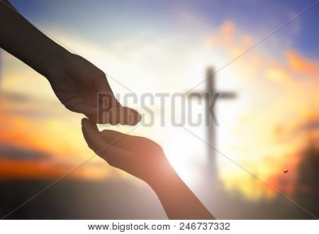 Close Up Helping And Blessing Pray Hands Try To Give And Take On Blur Beautiful Sunrise Sky Backgrou