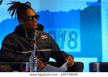ST. PETERSBURG, RUSSIA - JUNE 1, 2018: Breakdance teacher and capoeira instructor Neguin in the jury of Red Bull BC One Camp Russia 2018. Red Bull BC One is world biggest one-on-one B-Boy competition