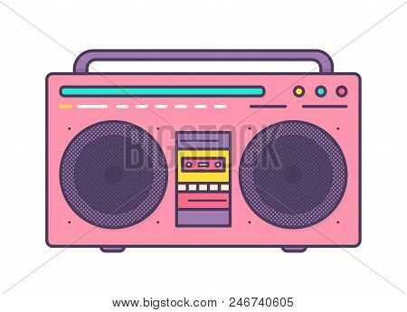Pink Boombox, Portable Music Player With Integrated Loudspeakers, Carrying Handle And Cassette Recor
