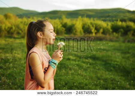 Teen Girl Blowing Dandelions On The Sunny Meadow