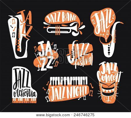 Set Of Jazz Music Lettering Handwritten With Calligraphic Font And Decorated With Various Musical In