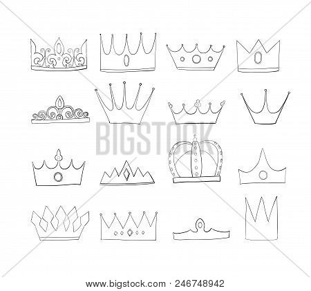 Crowns With Gems And Diamonds Set. A Symbol Of Authority. Headpiece Of The King. Icon Denoting Succe