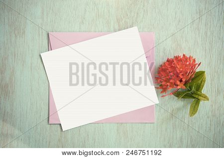 Blank White Greeting Card With Envelope And Flower. For Mockup Template. Vintage Tone.