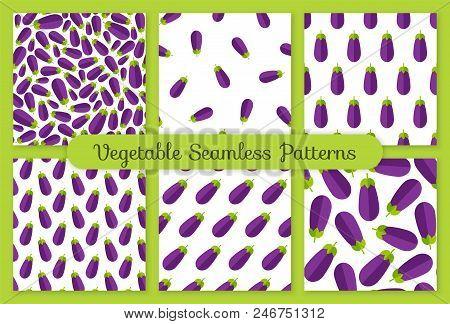 Flat Vegetable Seamless Pattern Collection. Trendy Decoration Food Design Background Set In Modern V