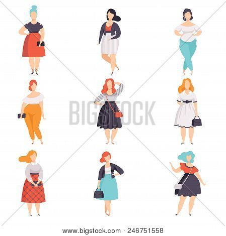 Beautiful Plus Size Women In Fashionable Clothes Set, Curvy, Overweigh Girl Pinup Model Vector Illus
