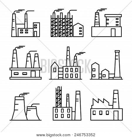 Industrial Buildings Thin Line Icons Set. Plant And Factrories. Heavy Industry Power And Nuclear Pla