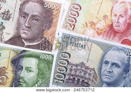 Old Money From Spain, A Background With Pesetas