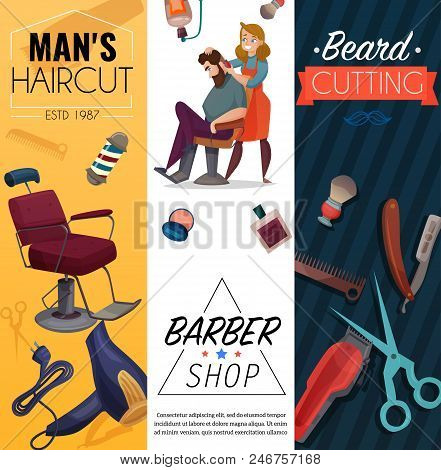 Barber shop vertical cartoon banners, mens coiffures, master and customer, work tools, beard cutting, isolated vector illustration poster