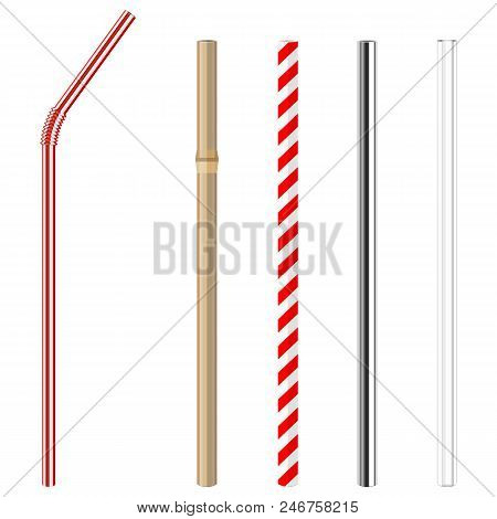 Modern Reusable Glass, Steel, Paper And Bamboo Drinking Straws As Alternative Replacement For Classi